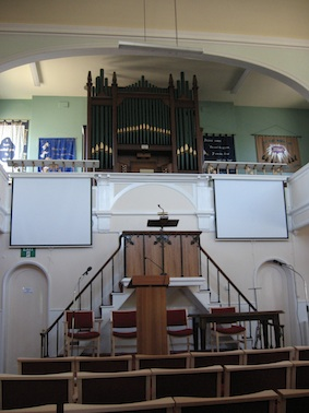 This is the pulpit and organ that face you having walked into the church from the lobby.